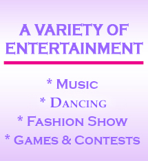 Text, A variety of entertainment, music, fashion shows, games and contests